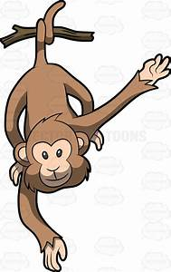 A Cute Monkey Hanging From Its Tail Vector Clip Art Cartoon