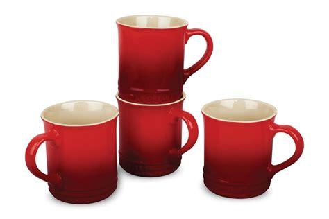 le creuset stoneware mug set  piece cherry red cutlery