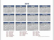 2019 Retail Accounting Calendar 445 Free Printable