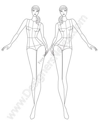 fashion design templates v77 front view walking fashion figure template designers 21677 | 077 front view walking fashion figure template preview 316x409