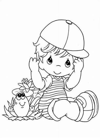 Boy Coloring Pages Precious Moments Shower Getcoloringpages