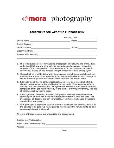 wedding photography contract template  printable