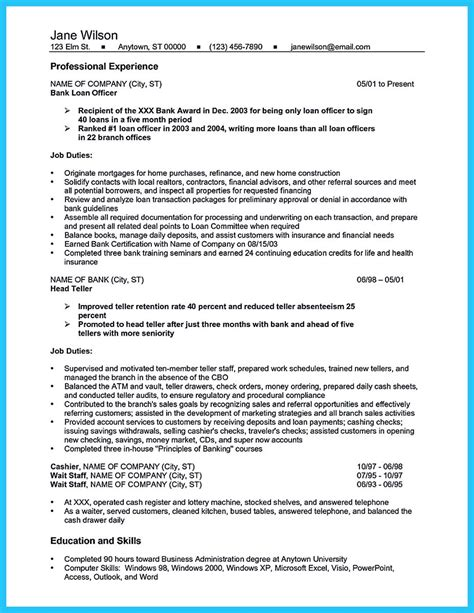 Bank Teller Resume Sle by Learning To Write From A Concise Bank Teller Resume Sle