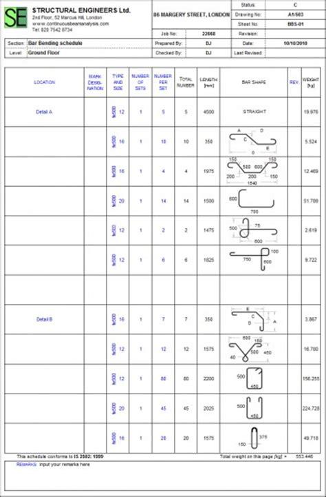 bar bending schedule format  excel  printable