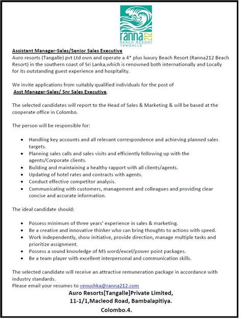 assistant sales manager senior sales executive