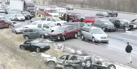 Icy Road Causes 41 Car Pile-up