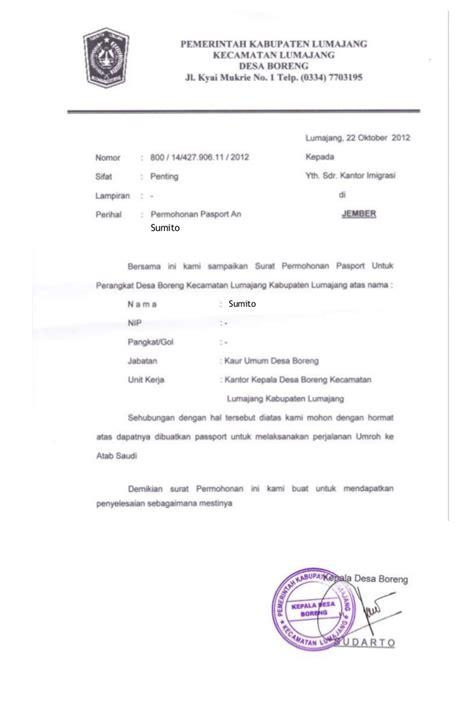 surat pengantar pembuatan paspor  kelurahan setempat