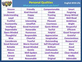 personal qualities for personal qualities vocabulary home