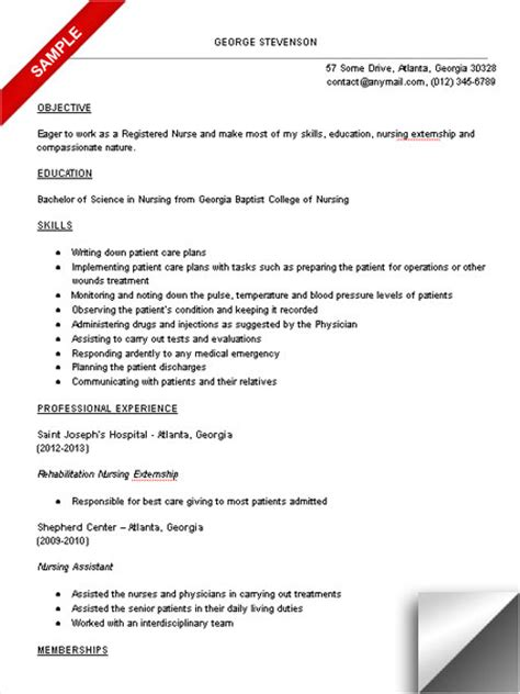 13072 nursing student resume for internship nursing student resume sle limeresumes