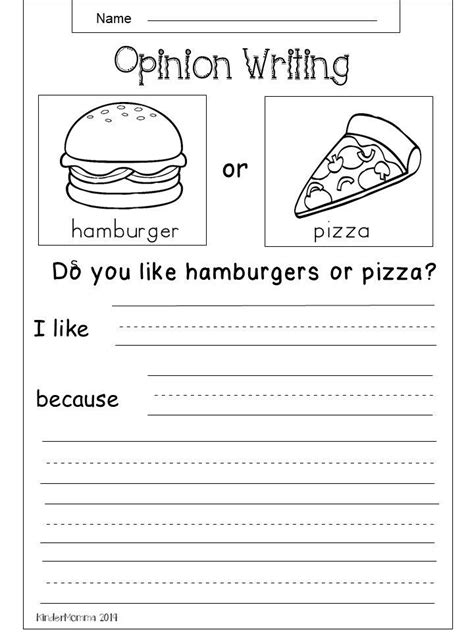 opinion writing printable tacos  hot dogs