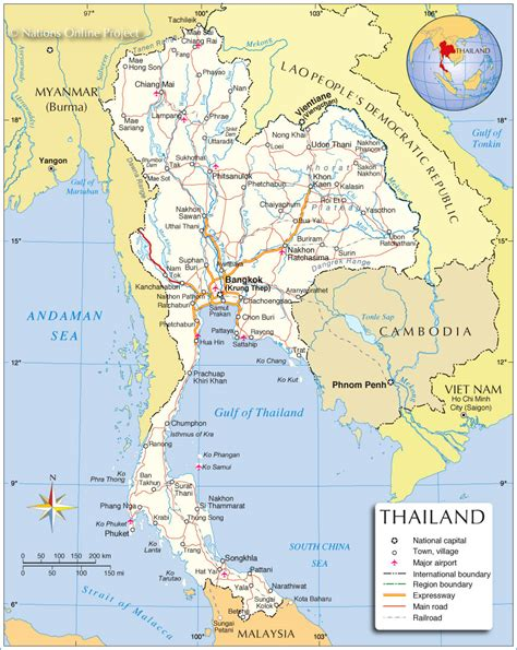 political map  thailand nations  project