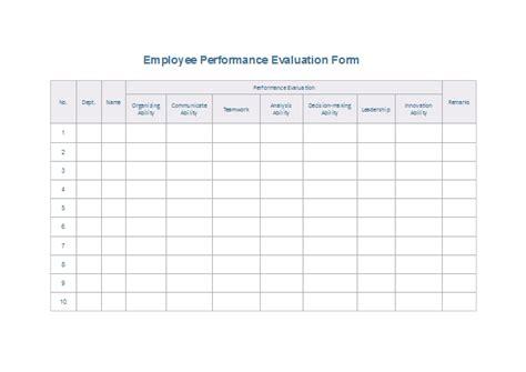 evaluation form templates
