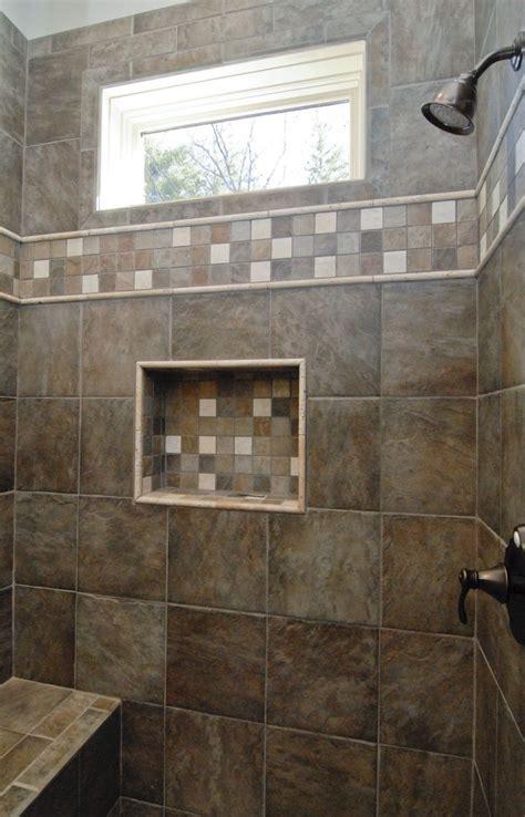 gorgeous dark brown custom tile walk  shower
