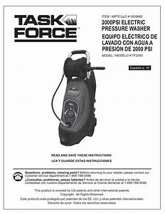 Task Force Tf2000 Electric Pressure Washer Parts  U0026 Owners