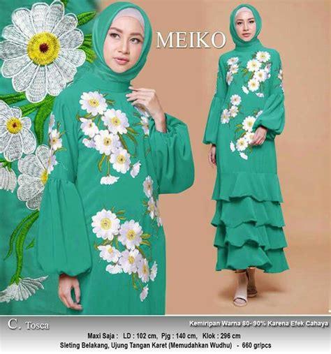 Harga Gamis Merk Motif gamis polos motif bunga meiko toska baju gamis terbaru