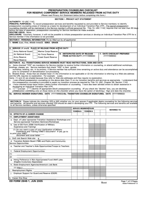 fillable dd form 2648 1 preseparation counseling