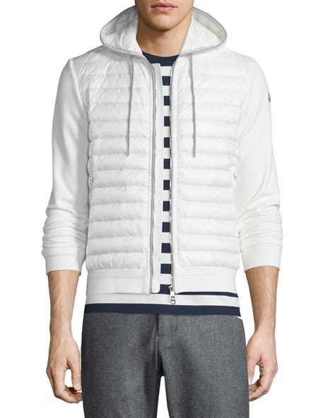 quilted hoodie mens moncler quilted zip up hoodie in white for lyst
