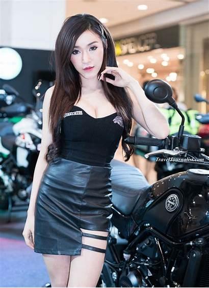 Pretty Bangkok Thailand Motorbike Models Festival Check