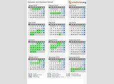 Kalender 2019 + Ferien SachsenAnhalt, Feiertage