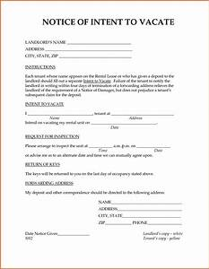 notice of intent to vacate resume name With notice to vacate letter to tenant from landlord