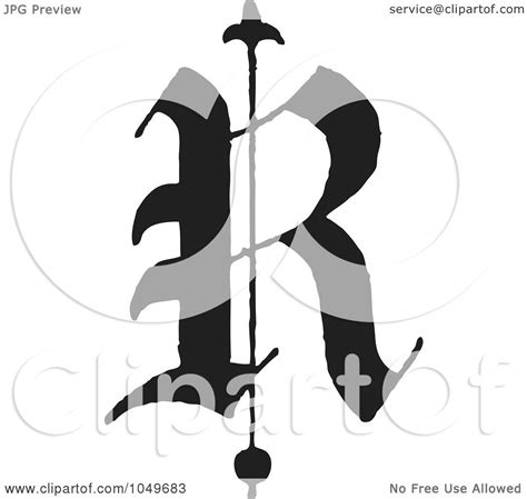 royalty free rf clip illustration of a black and white abc letter r by