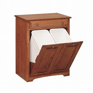 Double Trash Bin With Drawer Amish Handcrafted Near