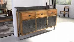 Buffet Metal Et Bois : sutton buffet de style industriel en bois et m tal mobilier moss ~ Melissatoandfro.com Idées de Décoration