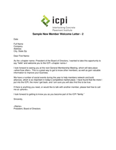 membership new member welcome letter welcome letter for new members sle forms and templates 73739