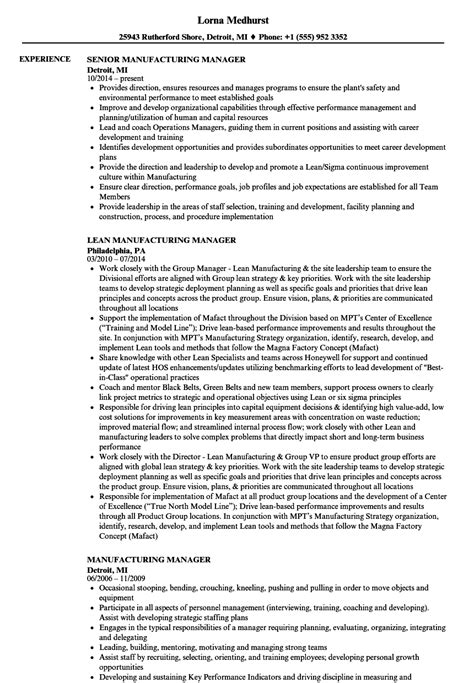Manufacturing Resume by Manufacturing Manager Resumes Romeo Landinez Co