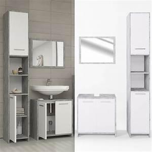 Waschtisch Mit Hochschrank : badm bel set kiko wei grau beton badezimmer real ~ Frokenaadalensverden.com Haus und Dekorationen