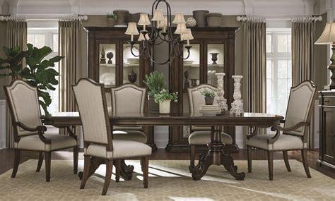 chateaux walnut double pedestal extendable dining room set