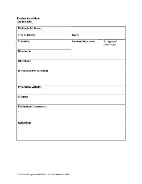 printable blank lesson plans form  counselors blank