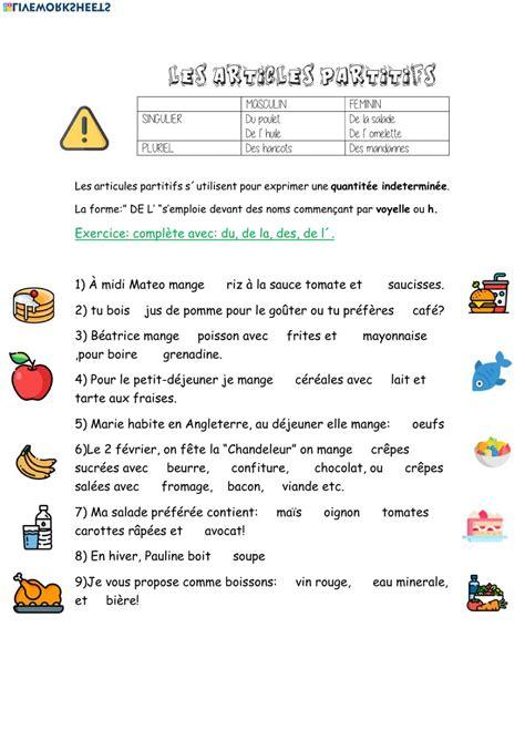 Les articles partitifs worksheet