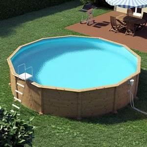 Piscine Bois Ronde : piscine acier ronde d cor bois 5 50 x 1 20 m ligne bleue piscines hors sol finition bois ou ~ Farleysfitness.com Idées de Décoration