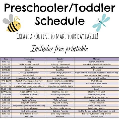 plan daily schedule includes ideas and a free printable schedule for