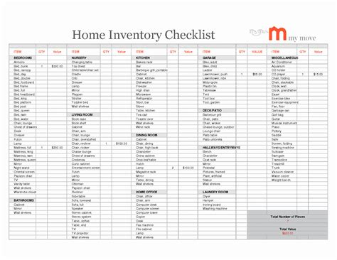 Inventory Spreadsheet Google pertaining to Household ...