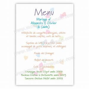 Modele De Menu A Imprimer Gratuit : menu de mariage mod le gratuit peinture ~ Melissatoandfro.com Idées de Décoration