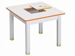 Table Enfant Avec Rangement : table enfant ted lily 60 x 50 cm chocolat beige 68550 ~ Melissatoandfro.com Idées de Décoration