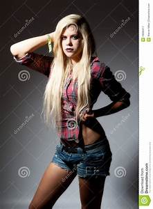 Young Blonde Female In Spot Light Stock Image
