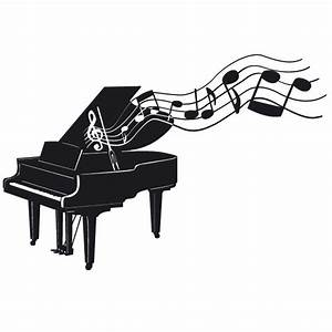 Flügel Klavier mit Noten Wandtattoo