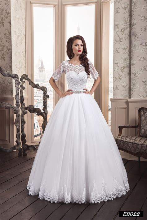 Eb022 Ball Gown Wedding Dress With An Illusion Neckline