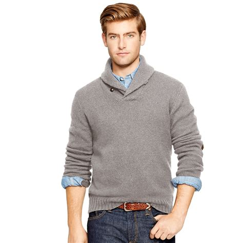 ralph polo sweaters polo ralph wool angora shawl sweater in gray for