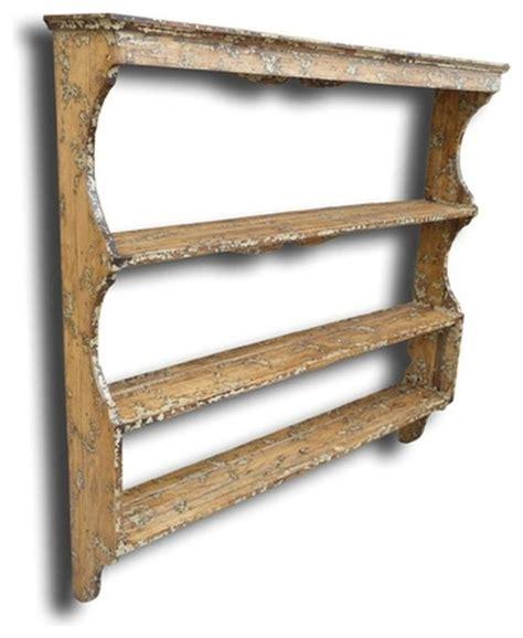 plate rack whitecream oak wood traditional display  wall shelves