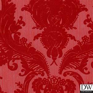 Victorian Flocked Velvet Wallpaper - Red on Red/Gray [FLK ...