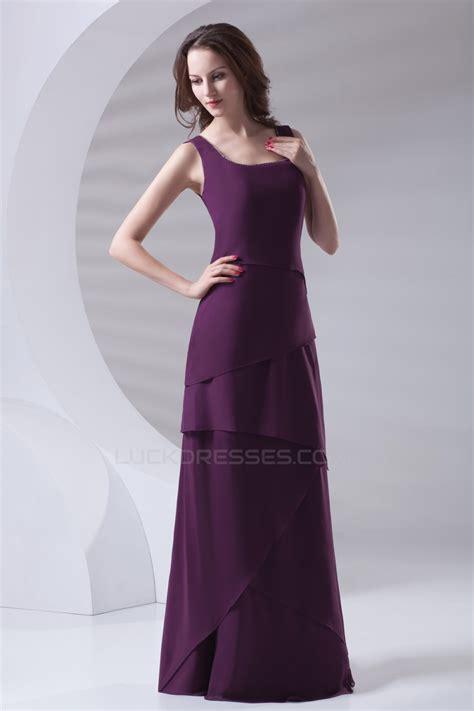 floor length chiffon long purple bridesmaid dresses
