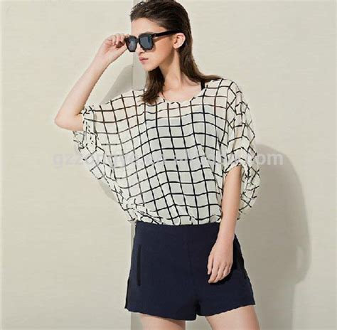 Chic Check Summer Tops Latest Design Girl Top With Batwing