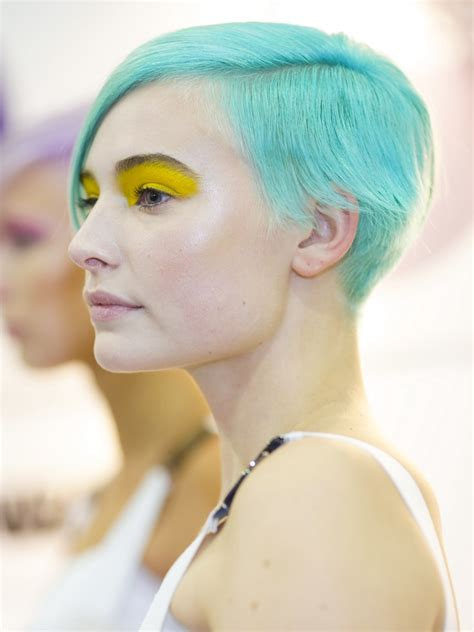 haircut  short sides   turquoise hair color
