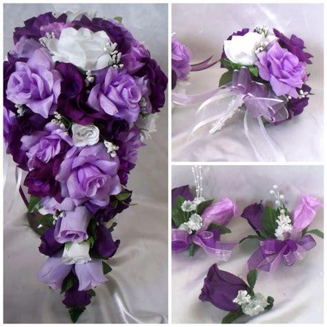 wedding bridal bouquet cascade lavender purple silk rose