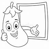 Eggplant Smiling Coloring Character Blackboard Recipe Happy Illustration Menu Banner Tray sketch template