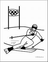 Skiing Coloring Olympics Clip Alpine Olympic Downhill Skier Winter Racing Abcteach Clipart Sport Event sketch template